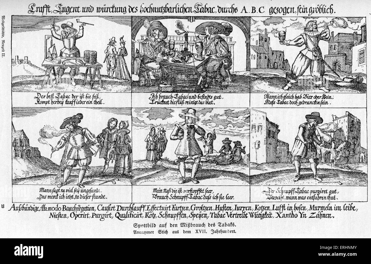 The abuse of tobacco in the 17th century - side effects of tobacco listed alphabetically at the bottom of the caricature. - Stock Image
