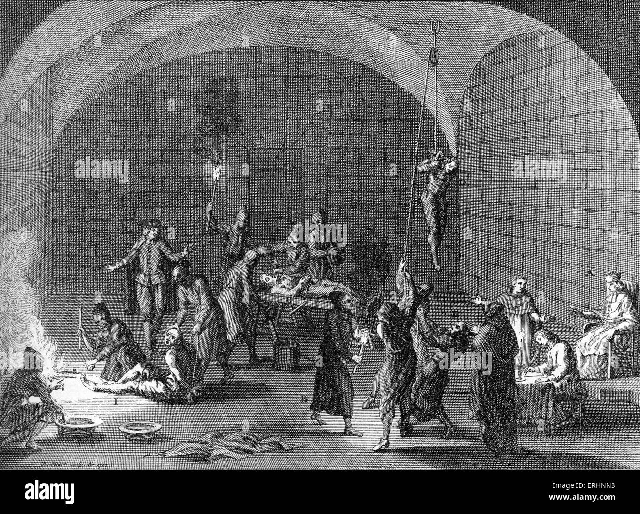 Torture chamber of an Inquisition tribunal - engraving, artist unknown. - Stock Image