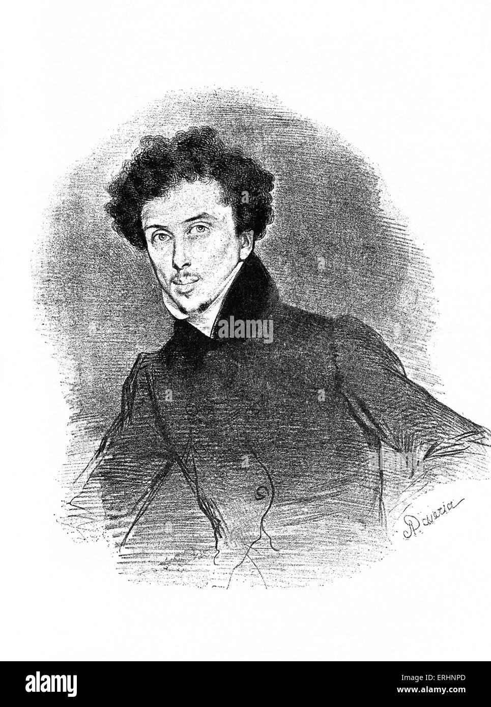 Alexandre Dumas, pere French author and playwright, c. 1832. After lithograph by Achille  Deveria.   24 July  1802 - Stock Image