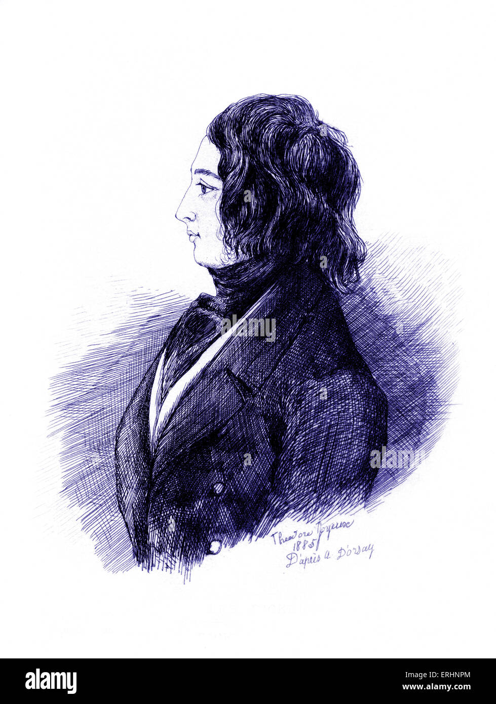 Charles Dickens Pen and ink drawing by Comte d'Orsay in 1845.   Signed Theodore Joyeuse 1885 after D'Orsay. - Stock Image