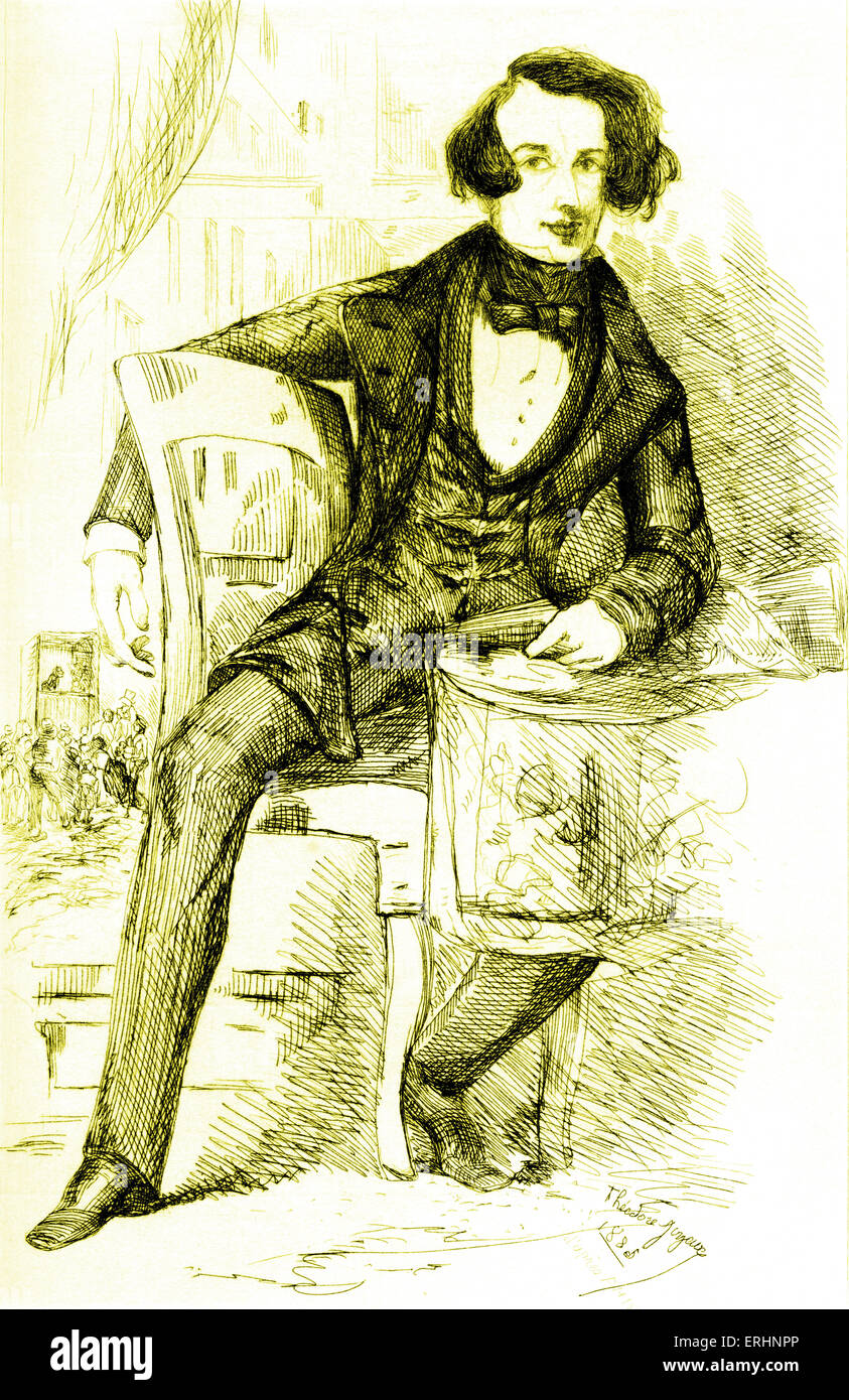 Charles Dickens as young man. Seated.  Drawing by Comte d'Orsay in 1845.   Signed Signed Theodore Joyeuse 1885 - Stock Image