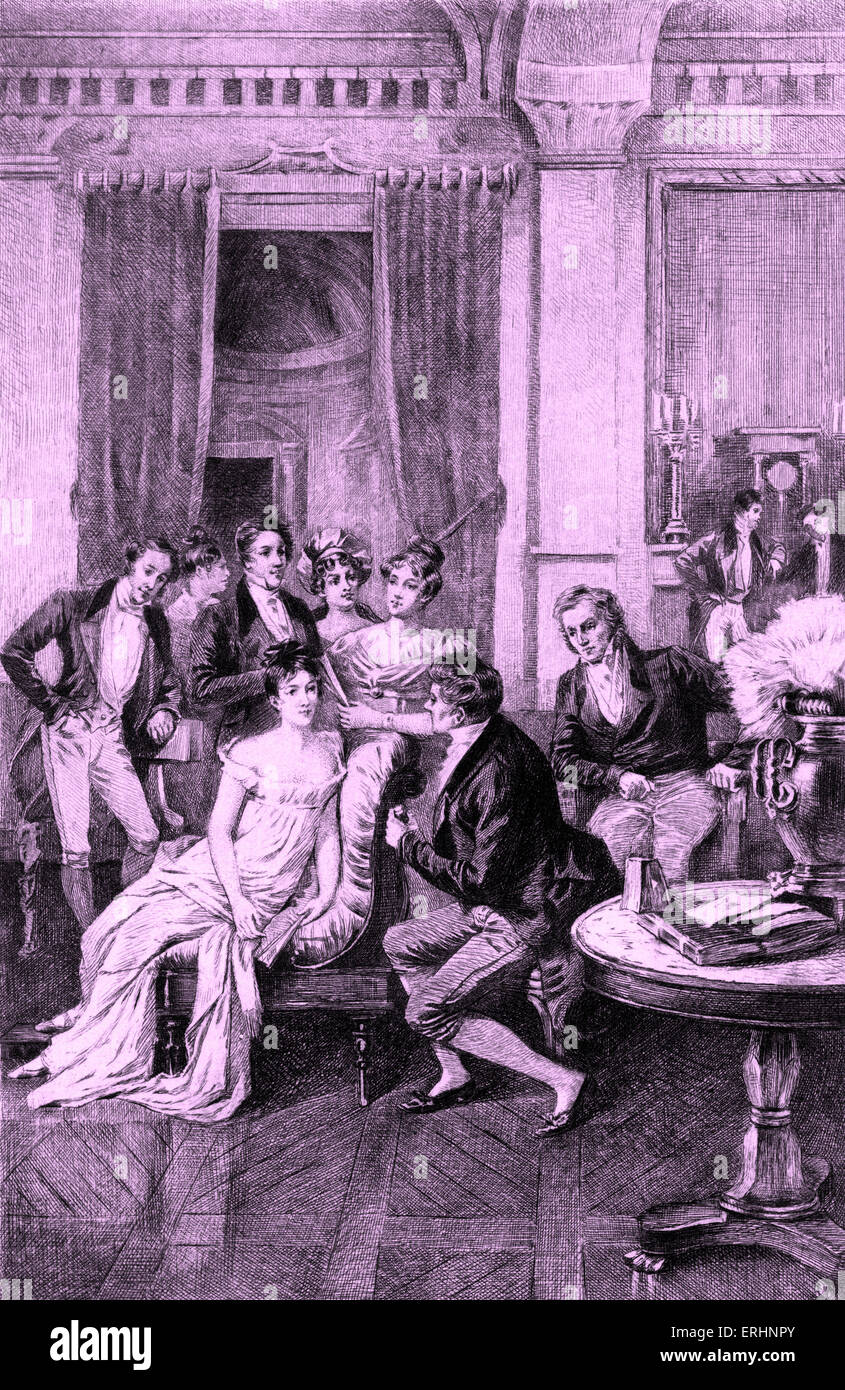 Madame Juliette Recamier Surrounded by literary and political figures: Charles Rodier, Chateaubriand, Sophie Gay, - Stock Image