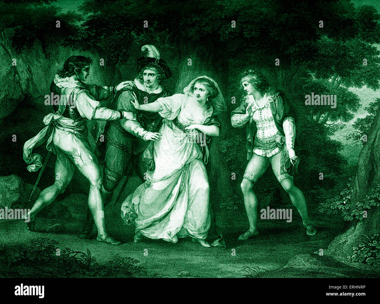 William Shakespeare 's play The Two Gentlemen of Verona  - Act V Scene IV. Valentine , Proteus , Silvia and - Stock Image
