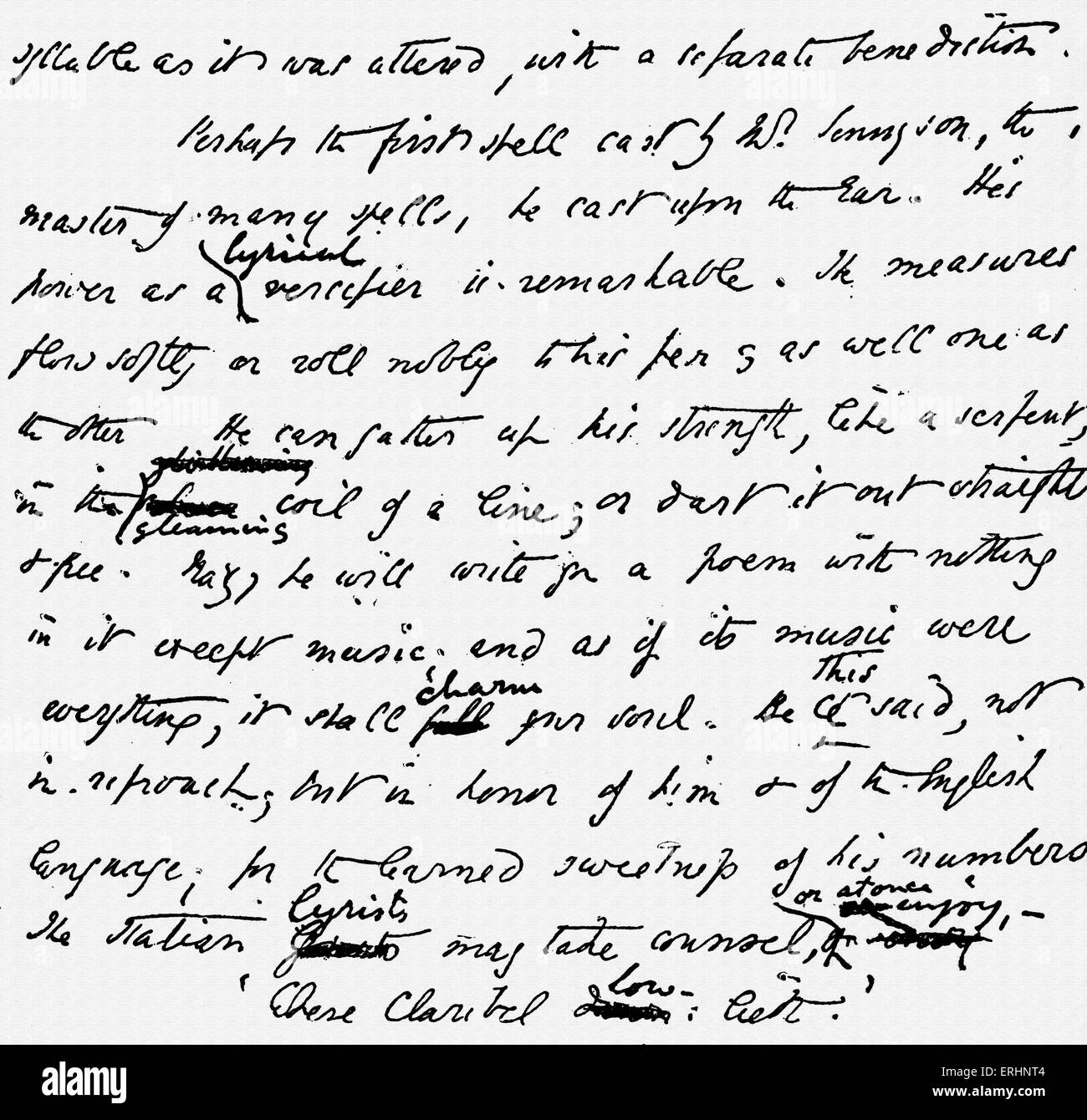 Elizabeth Barrett Browning 's manuscript. EBB helping Richard Henry Horne in preparing essays published in 1844. - Stock Image