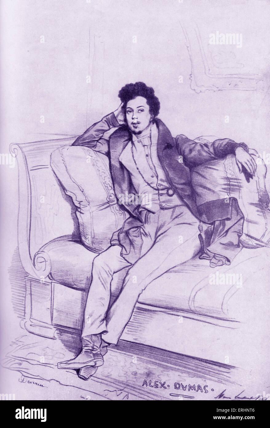 Alexandre Dumas père, portrait, by Achille Devéria, 6 February  1800 – 23  December   1857.  French author - Stock Image