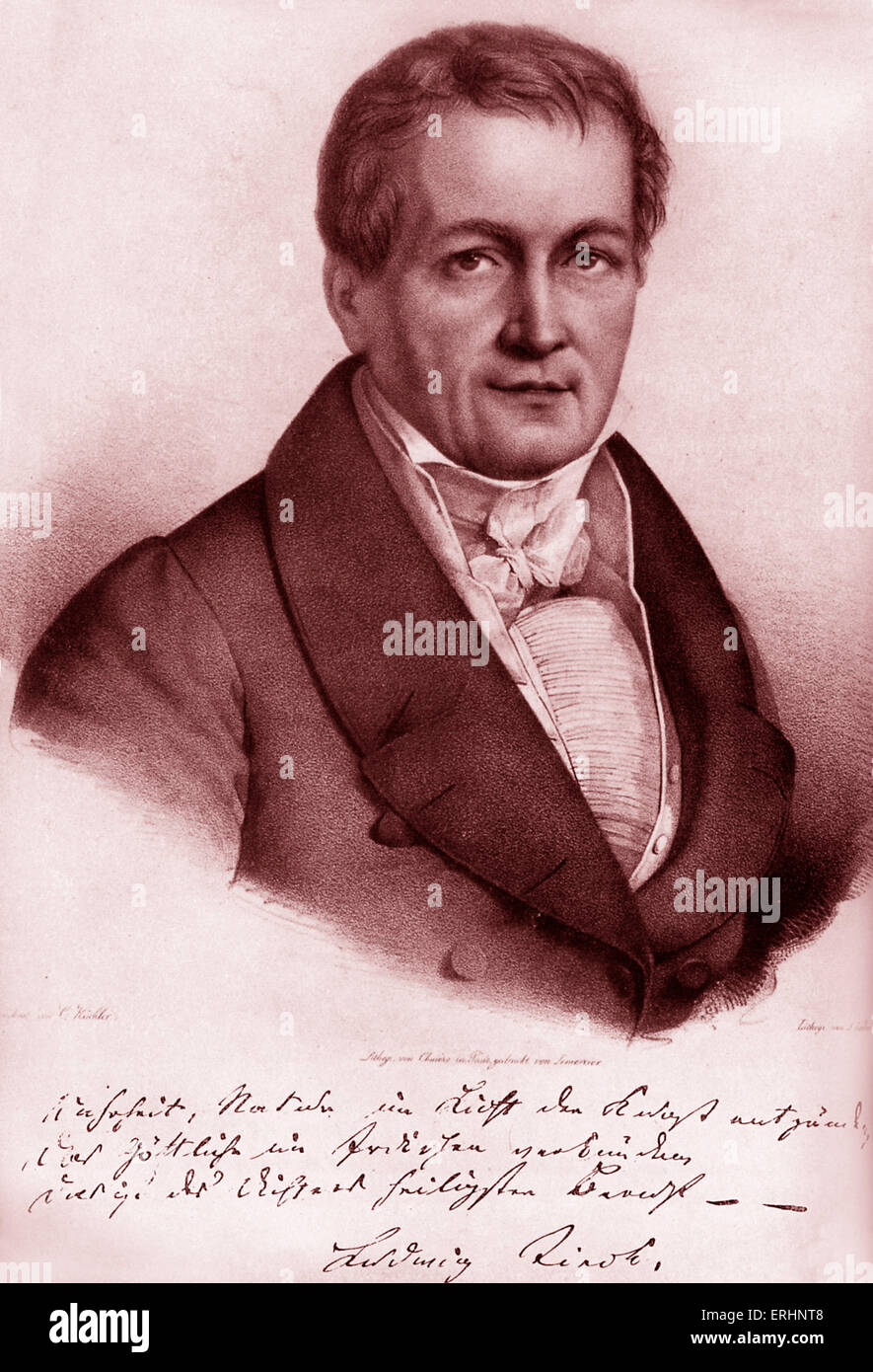 Ludwig Tieck -portrait. with signature. German writer on Shakespeare. 31 st May 1773 - 28 april, 1853. Wrote under Stock Photo