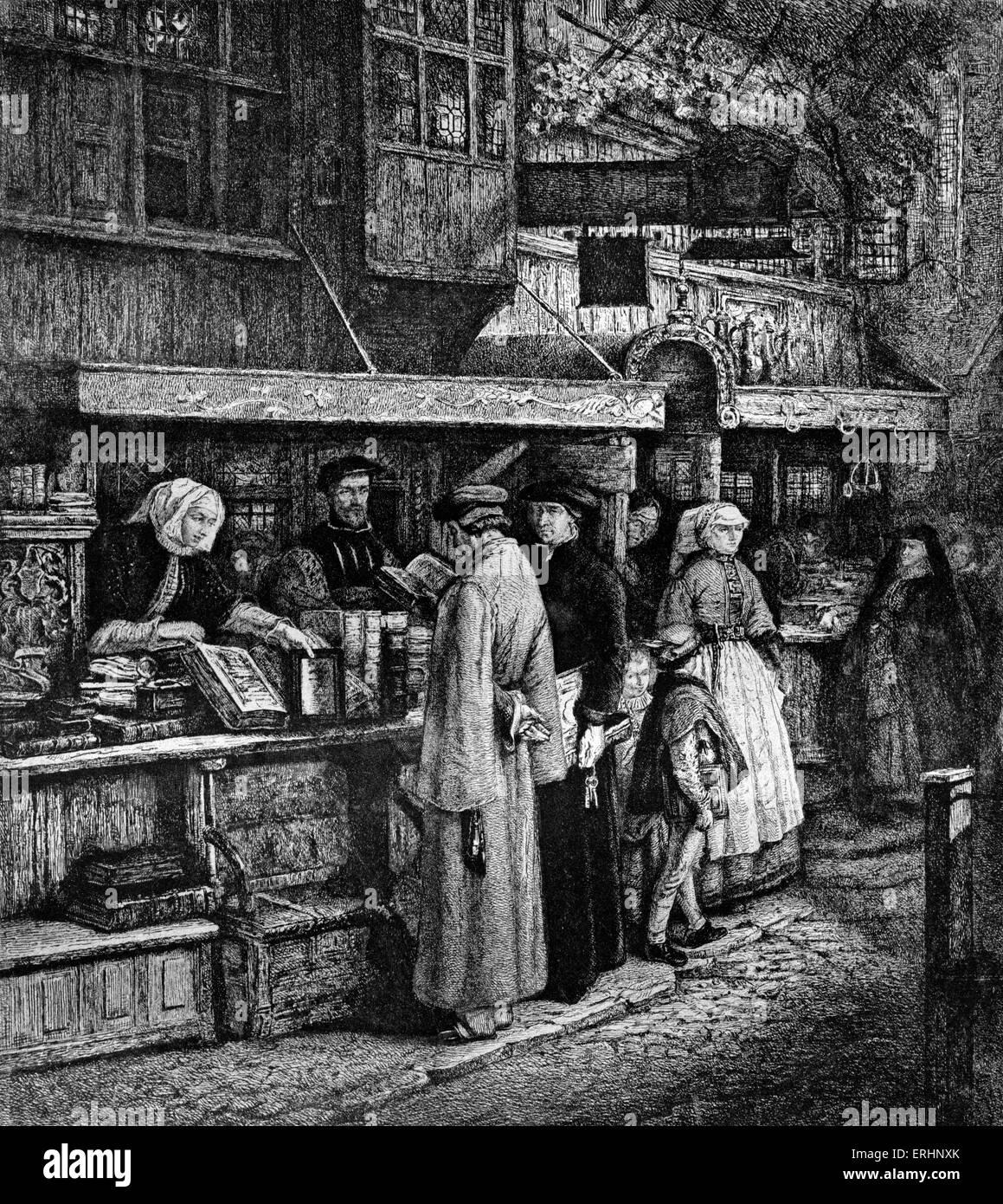 Bookseller in Antwerp printed by Jacob van Liesvelt in 16th century. - Stock Image