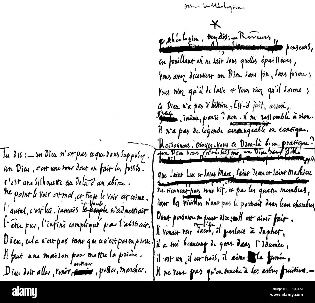 Victor Hugo hand-written  manuscript of Religions et Religion published 1880, critical of churches. - Stock Image