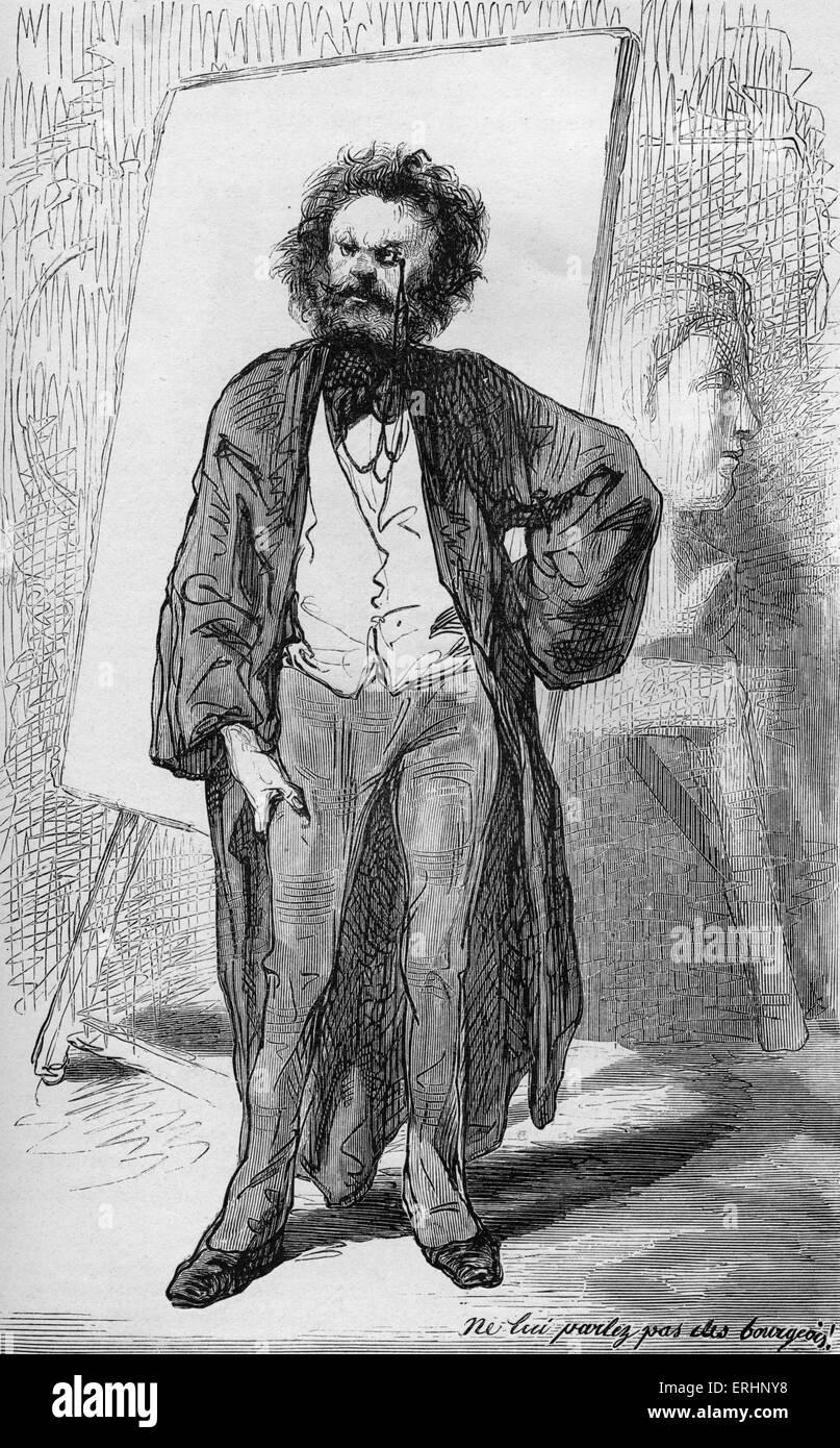 Les Artistes  by Gavarni - Caption reads 'Ne lui parlez pas des bourgeois!'. Paul Gavarni was the nom de - Stock Image