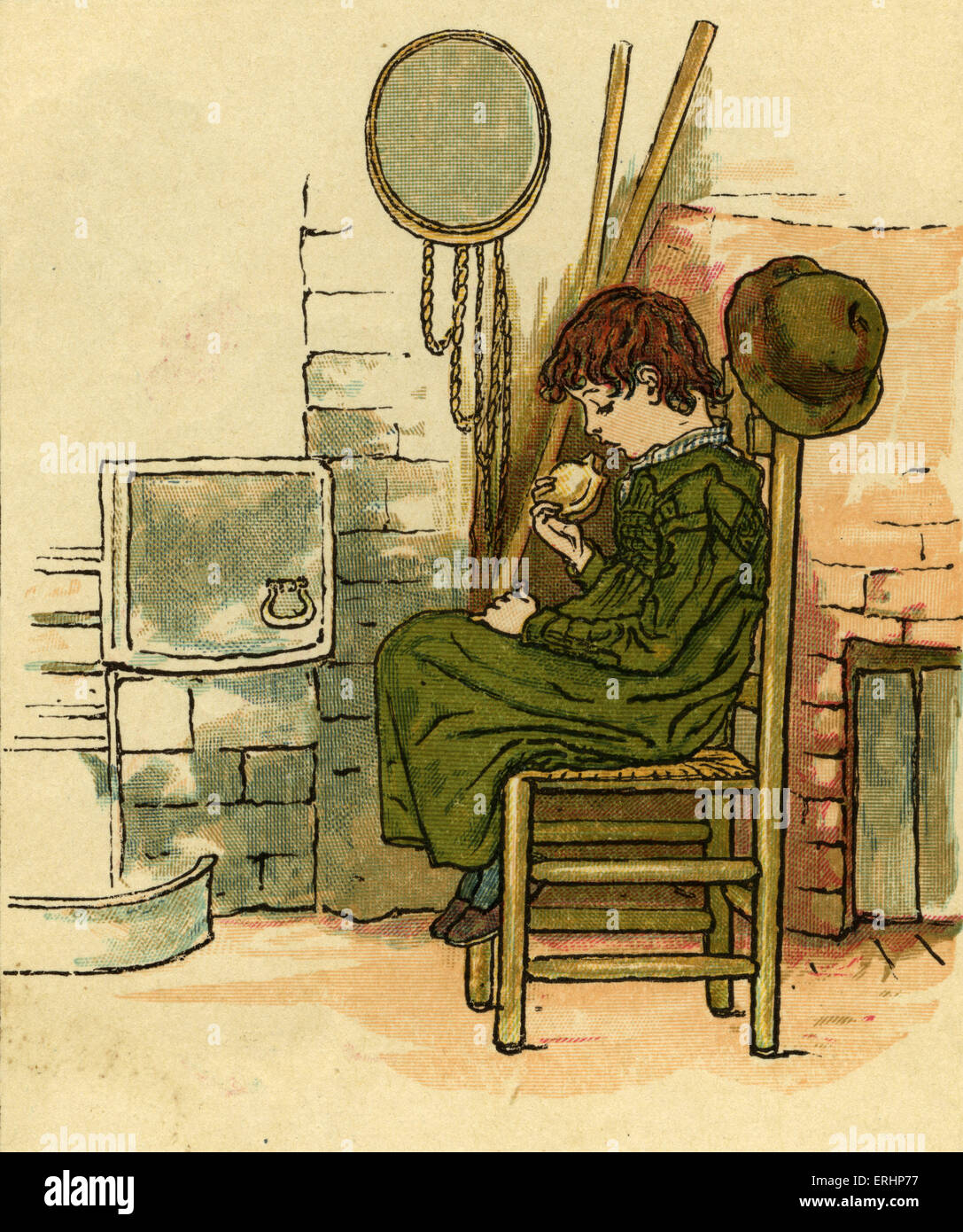 Little Jack Horner nursery rhyme illustrated by Kate Greenaway. English children 's book illustrator and authoress - Stock Image