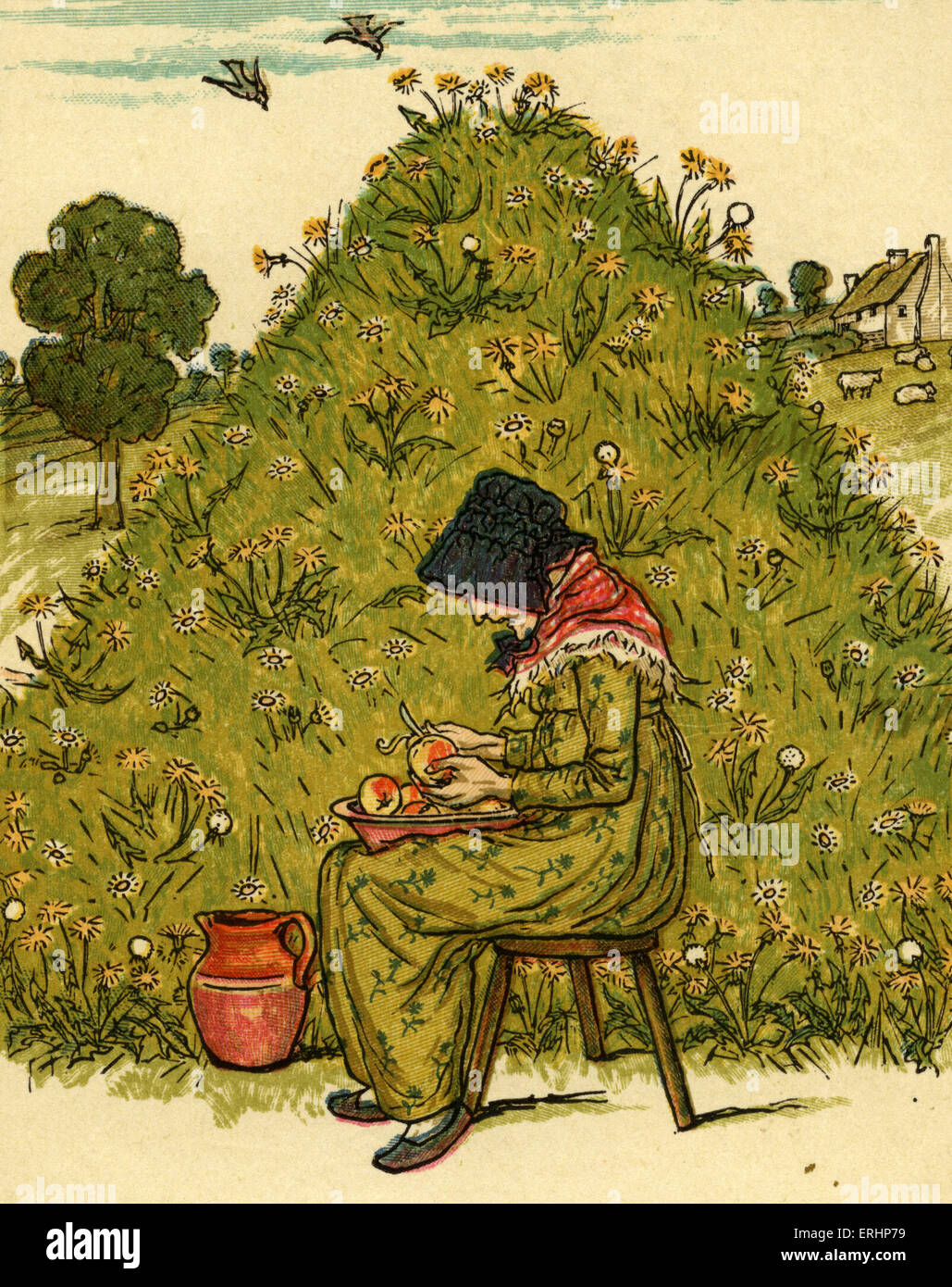 There was an old woman nursery rhyme illustrated by Kate Greenaway. English children 's book illustrator and - Stock Image