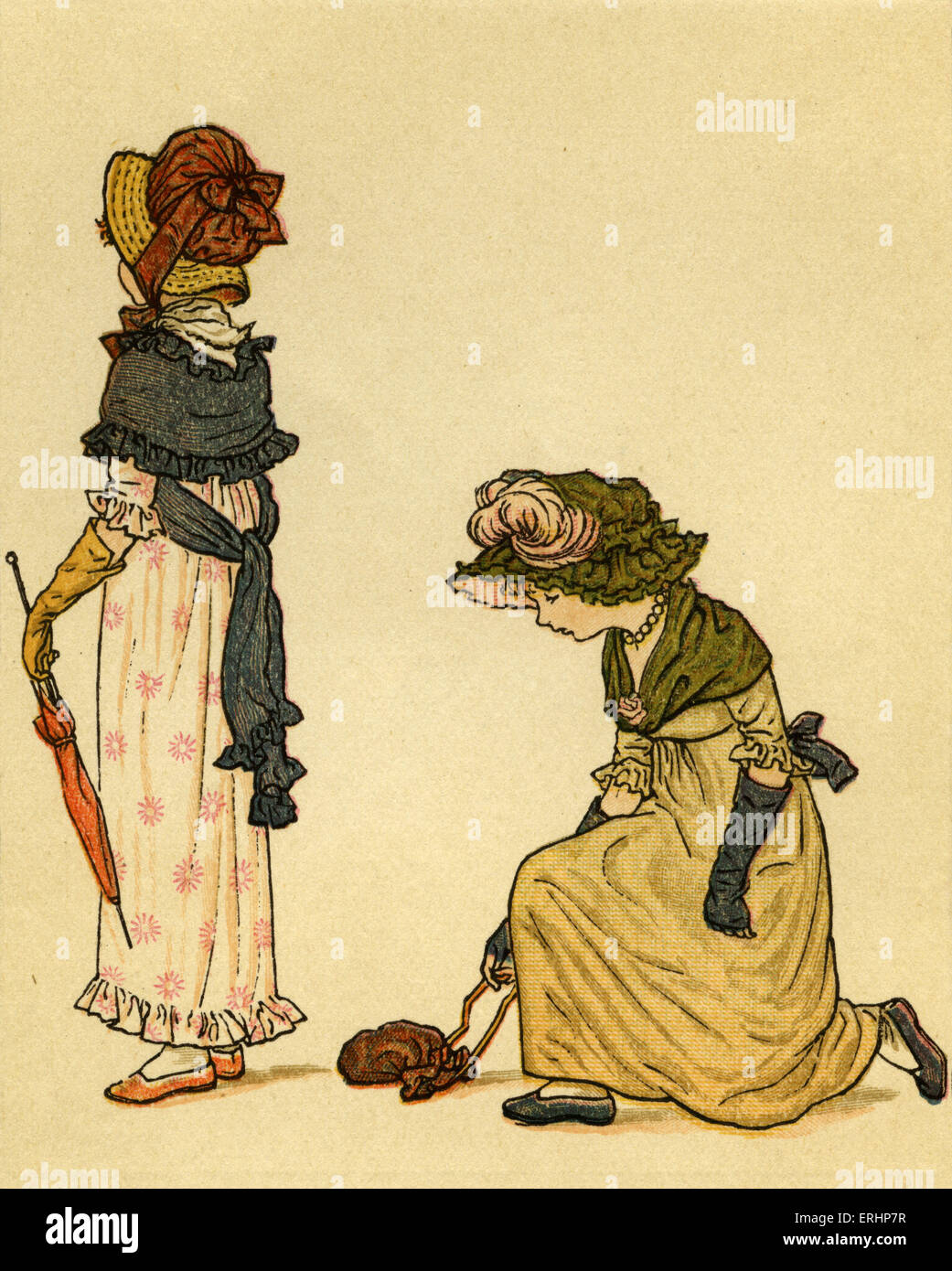 Lucy Locket, lost her pocket, illustrated by Kate Greenaway. English children 's book illustrator and authoress - Stock Image