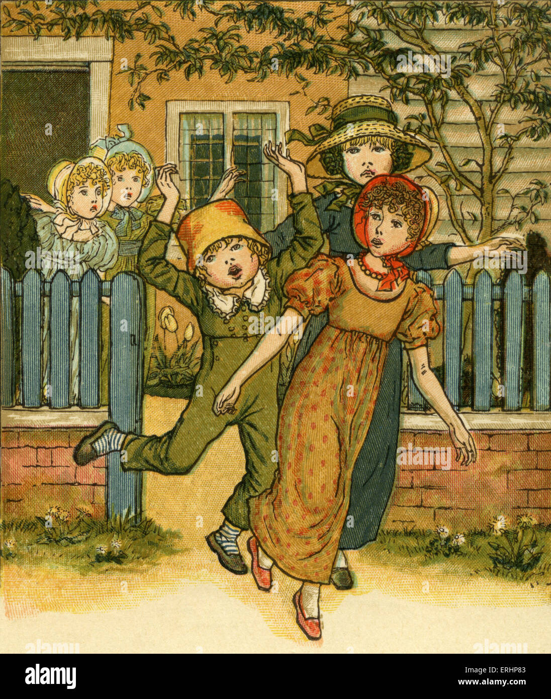 Girls and boys come out to play illustrated by Kate Greenaway Stock Photo -  Alamy