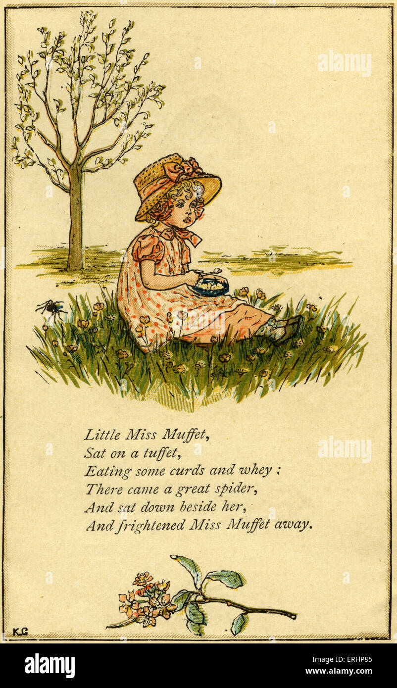 Little Miss Muffet, illustrated by Kate Greenaway. English children 's book illustrator and authoress 17 March - Stock Image