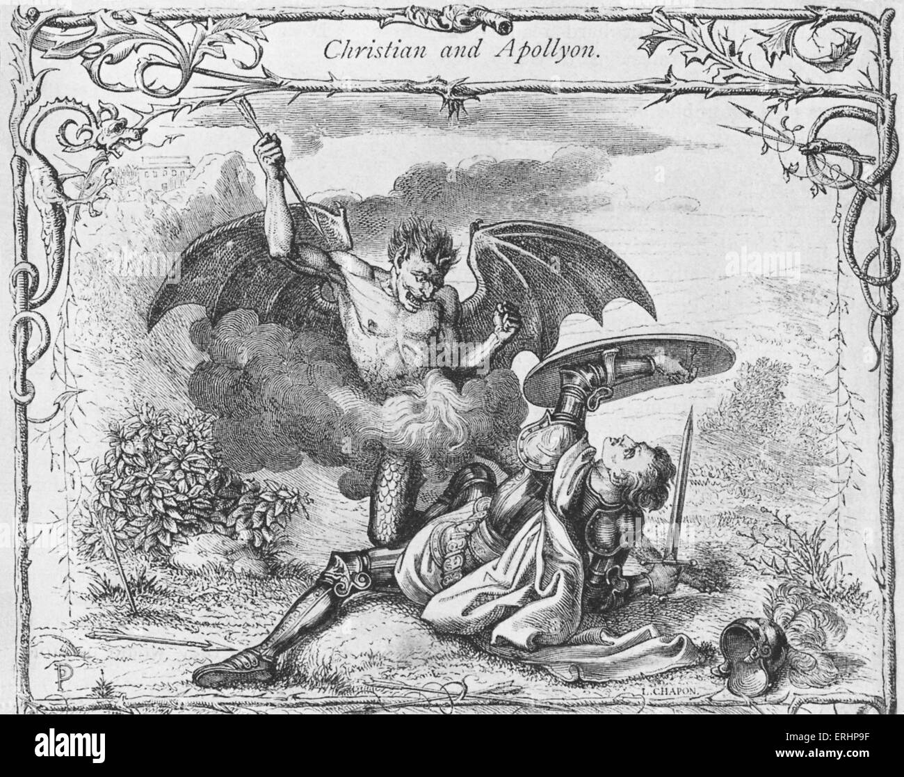 'Christian's Combat with Apollyon'. From 'The Pilgrim's Progress' by John Bunyan,  first - Stock Image