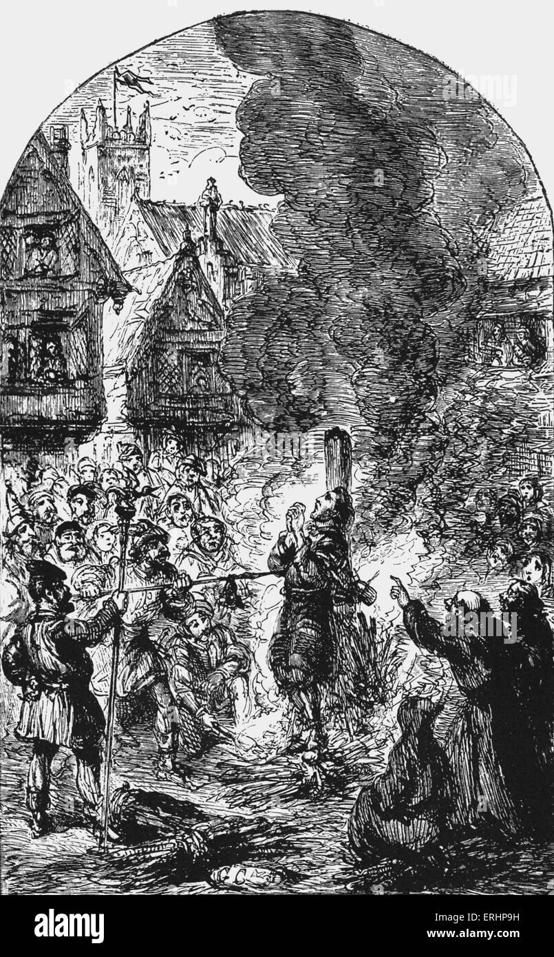 'The Martyrdom of Faithful' - burning at the stake. From 'The Pilgrim's Progress'  by John Bunyan, - Stock Image
