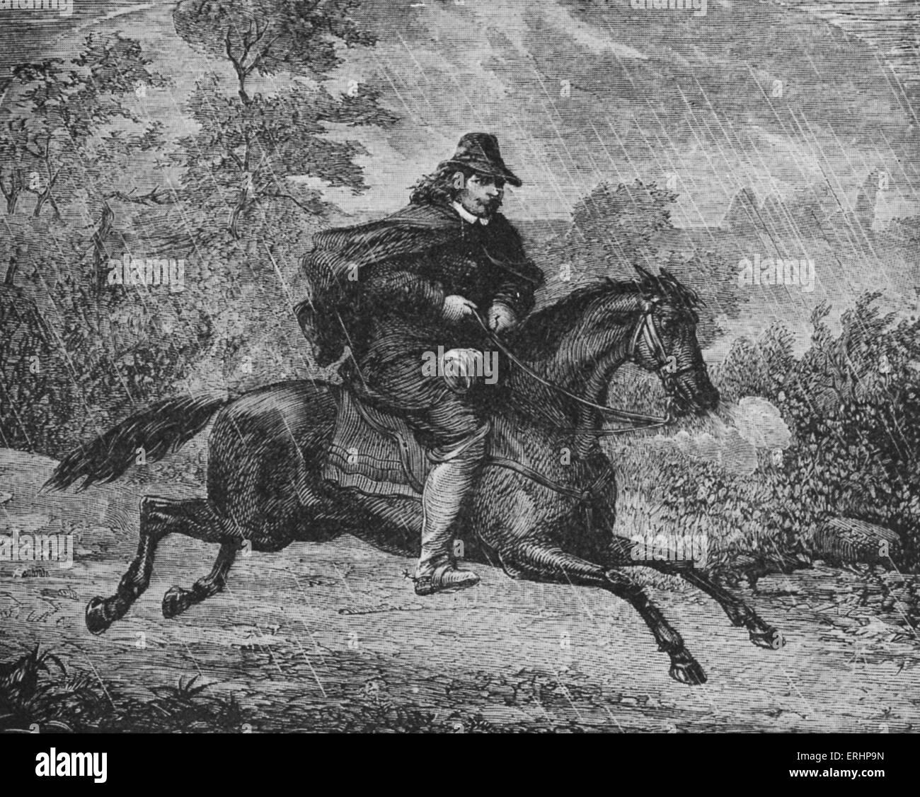 John Bunyan on horseback - from 'The Pilgrim's Progress'. Caption reads: 'Bunyan riding from Reading - Stock Image