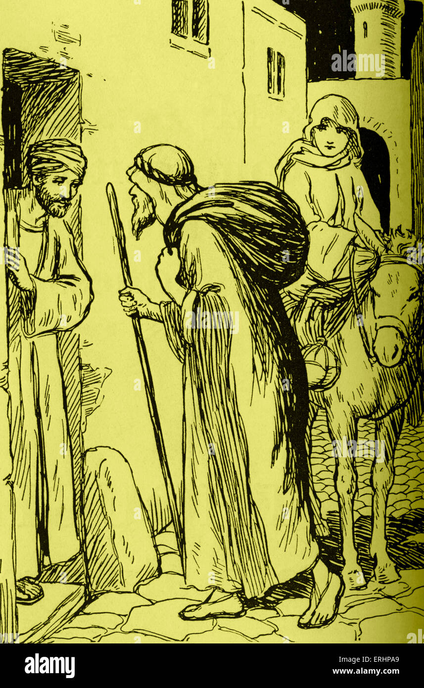 The Story of Christmas - by Violet M Methley, 1927.  Caption reads: 'There was no room for them.' Artist - Stock Image