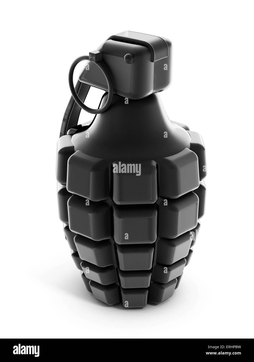 Hand grenade isolated on white - Stock Image