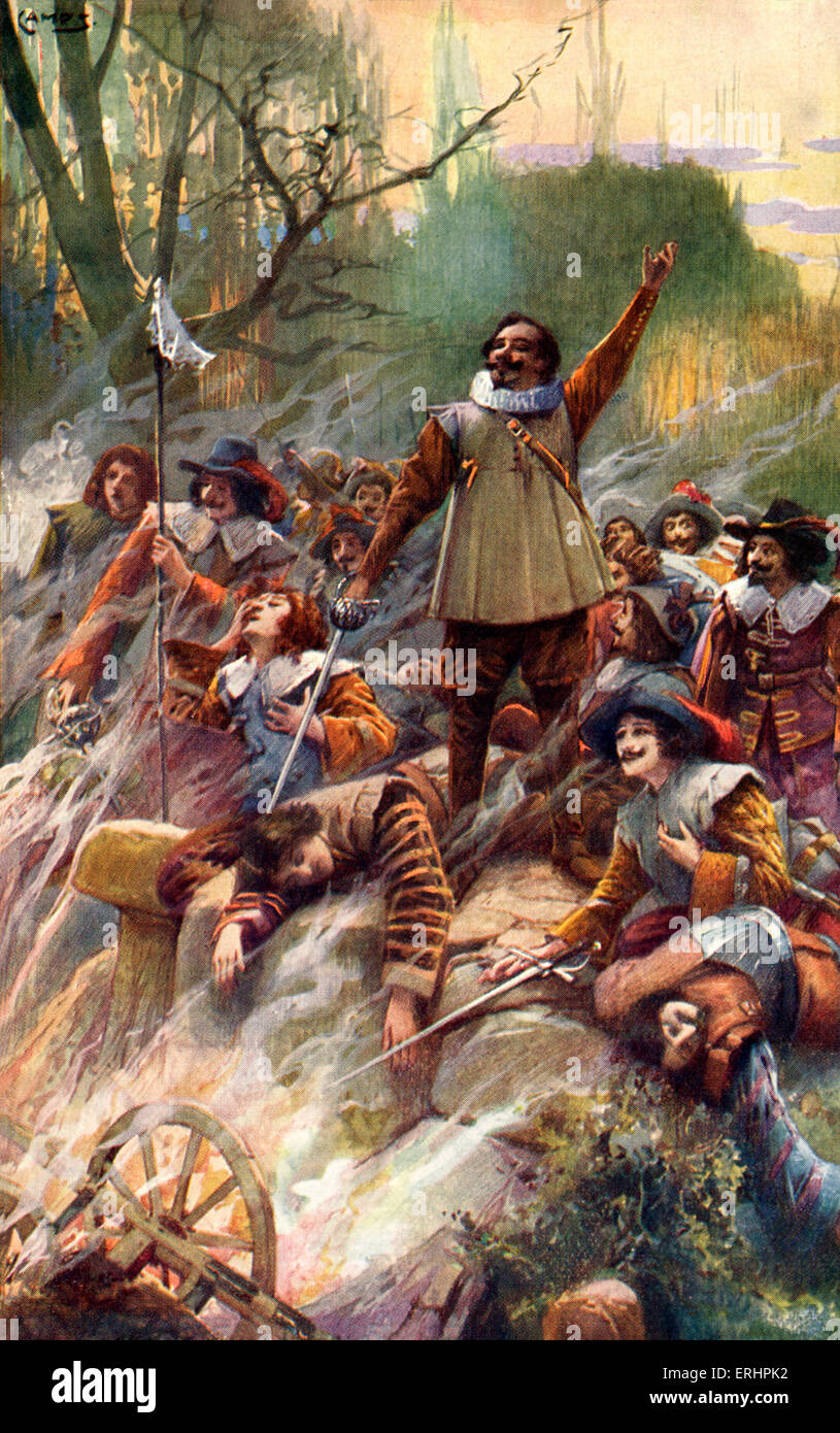 Savinien Cyrano de Bergerac - battle scene from play about the French dramatist: 6 March 1619 - 28 July 1655. - Stock Image