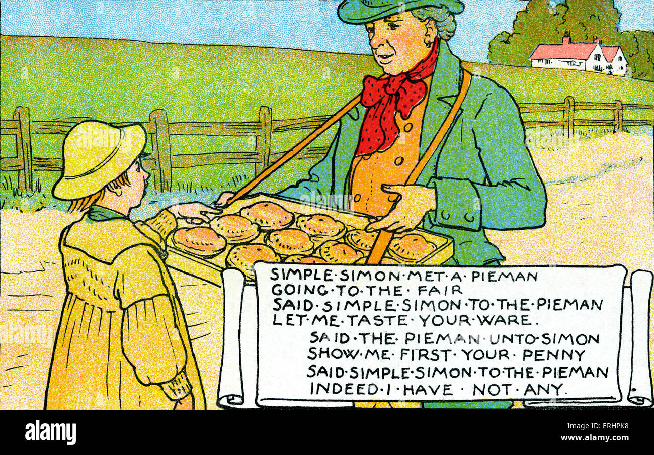 Simple Simon met a Pieman - Nursery rhyme . Food street seller. The fair was an extremely popular place to sell - Stock Image