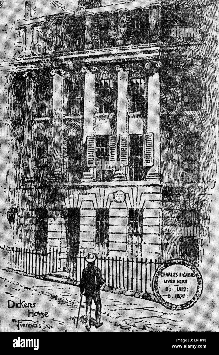 Dickens's Chambers - in Furnival's Inn, 1836/7.  Lived here when started work on Pickwick . Drawing by F. - Stock Image