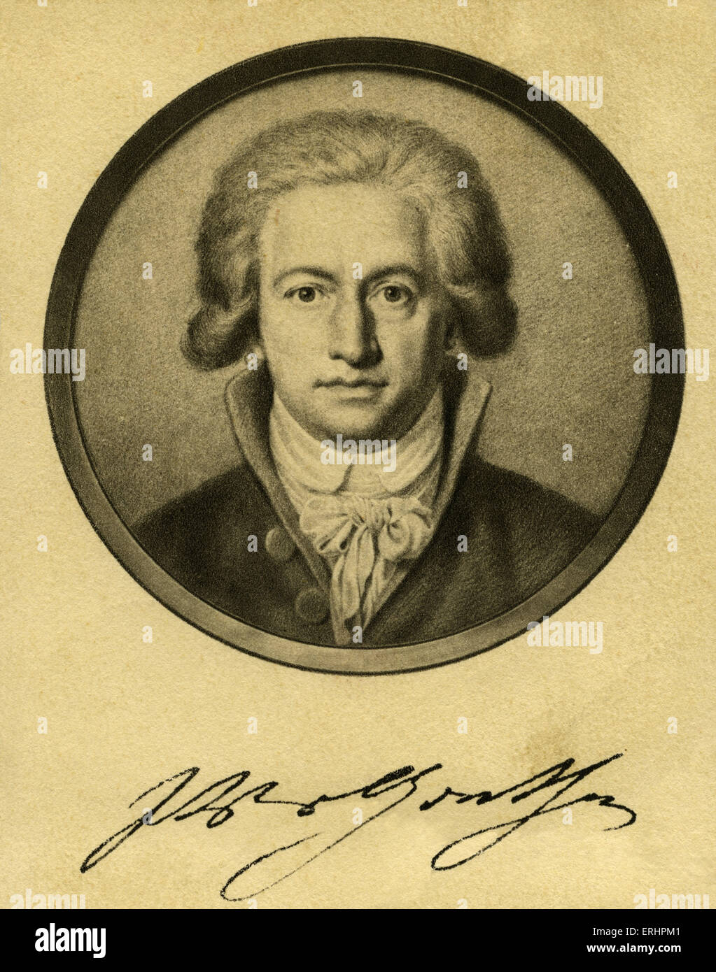 Johann Wolfgang von Goethe - 1791 with signature.  German writer: 28 August 1749 – 22 March 1832. - Stock Image