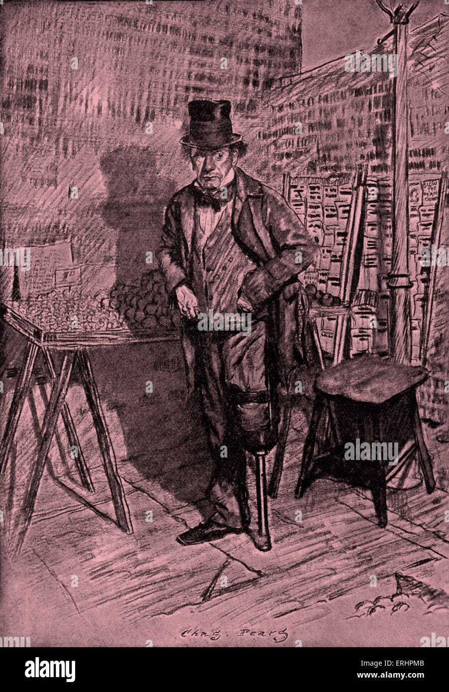 Charles Dickens's 'Our Mutual Friend' - Silas Wegg at his Stall near Mr. Boffin's house. Illustration - Stock Image