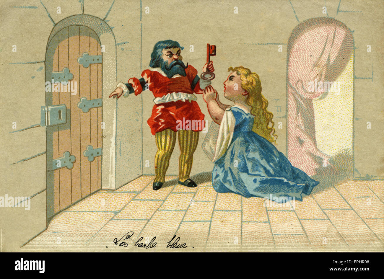 Bluebeard - (left), finds blood on the key which his wife (right) used to open the door to the room where he was - Stock Image