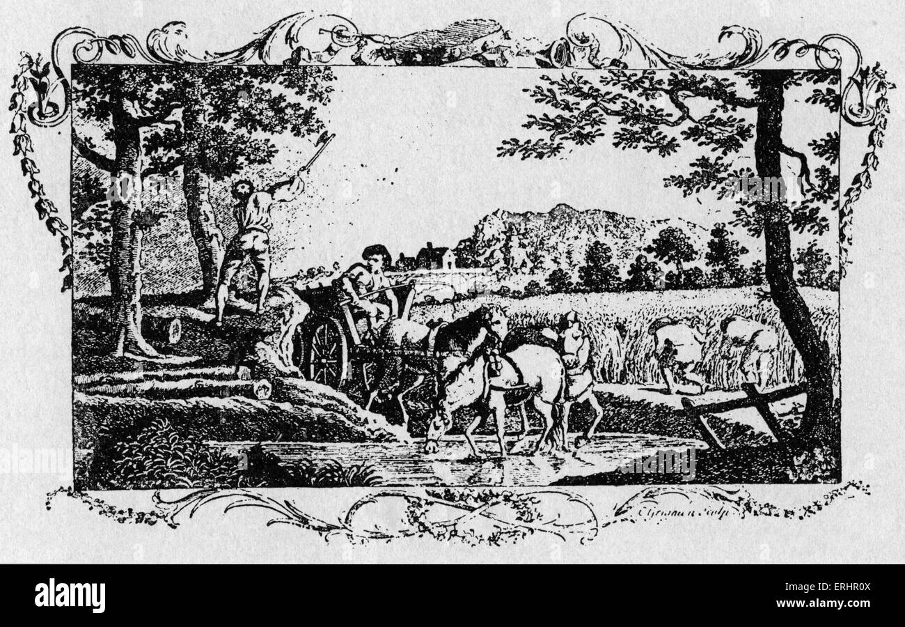 Thomas Gray's 'Elegy' - from 1753 edition. Caption reads: 'Elegy. Written in a Country Church Yard. - Stock Image