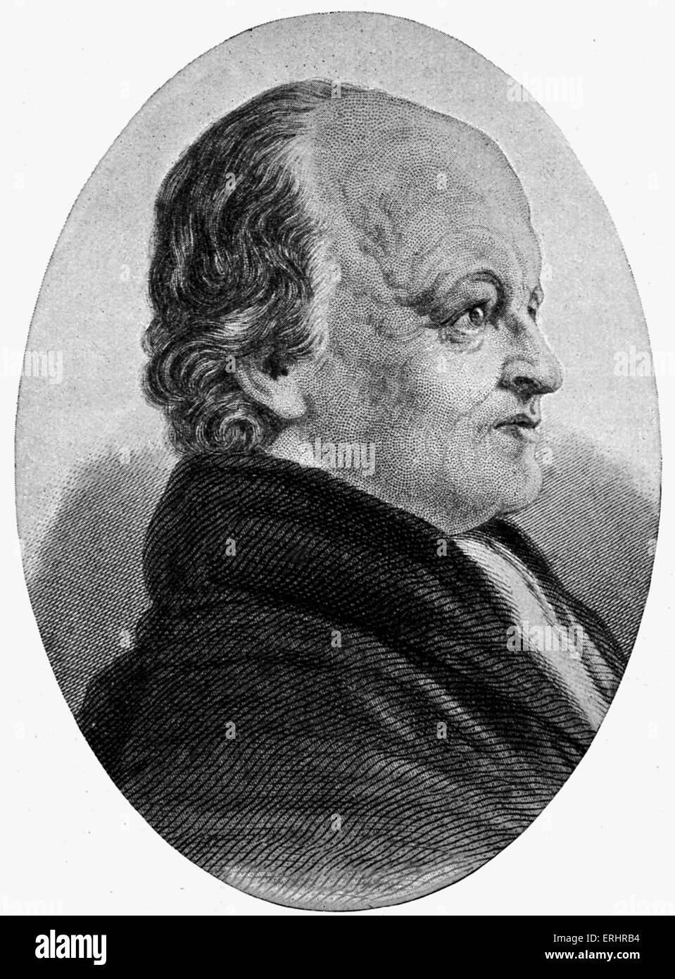 William Blake - 1827. Poet, painter and engraver: 28 November 1757 - 12 August 1827.  Portrait on ivory painted - Stock Image