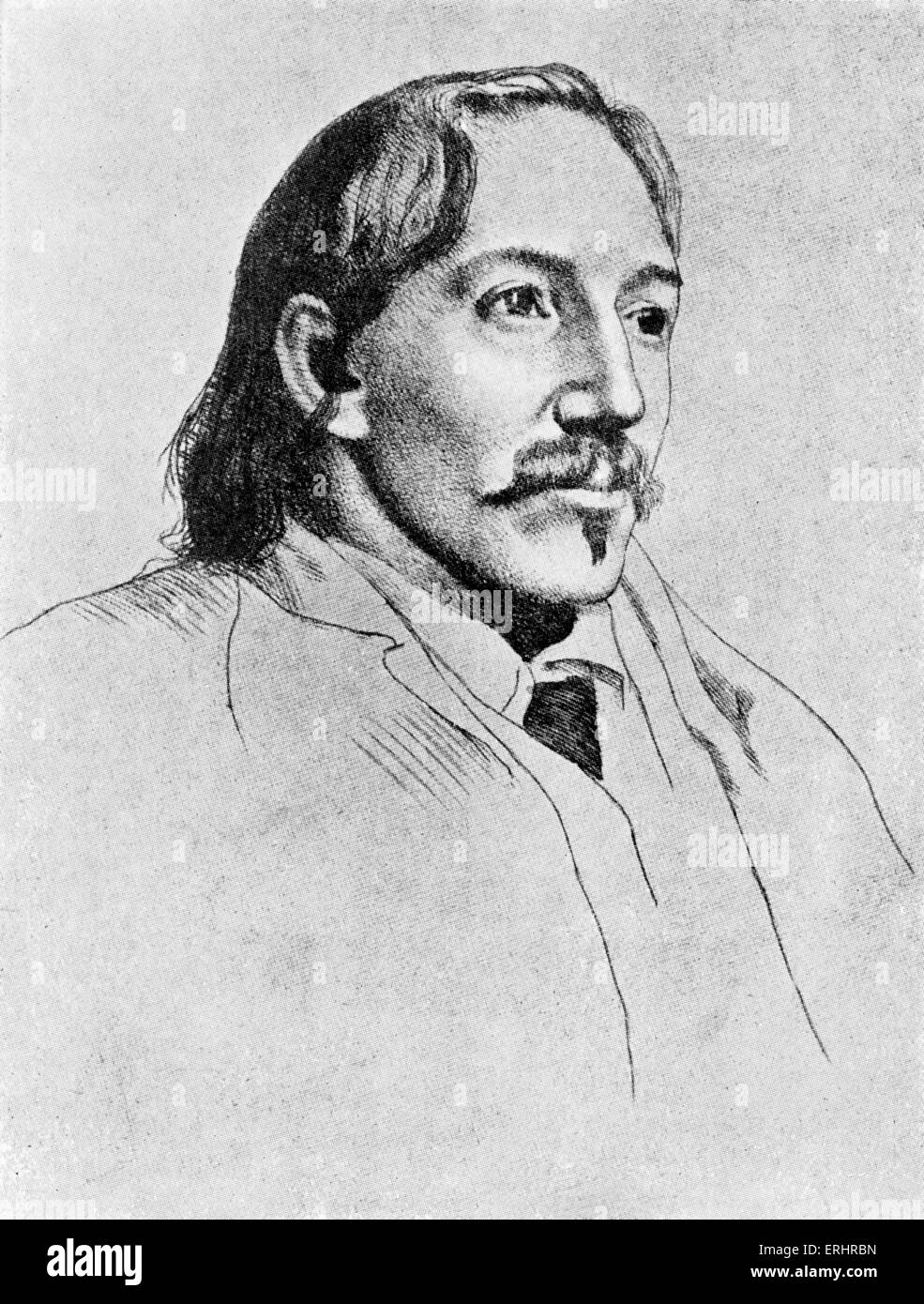 Robert Louis Stevenson - Etching by William Strang. Scottish novelist, poet, and travel writer, 13 November 1850–3 - Stock Image