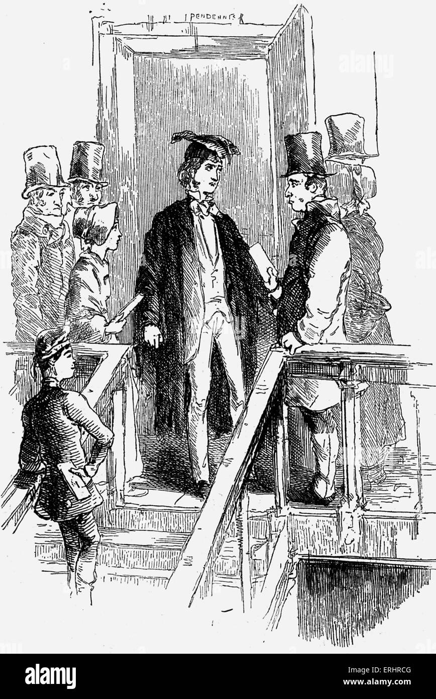 'Pendenis' - written and drawn by William Makepeace Thackeray. Caption reads: 'Pen's Staircase  - Stock Image