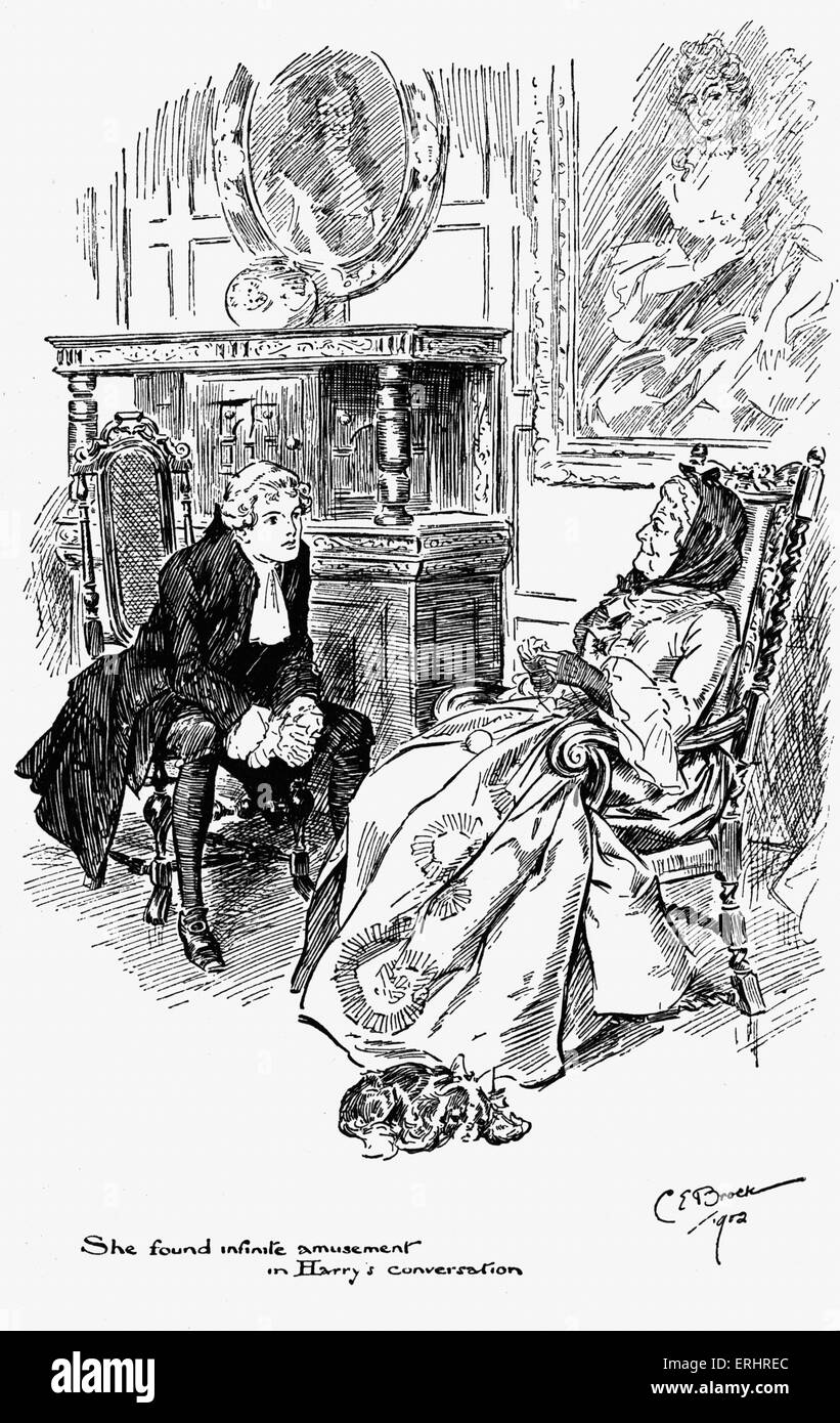 Madam Bernstein and Harry from  ' The Virginians'  - written by William Makepeace Thackeray. Drawing by Charles Stock Photo