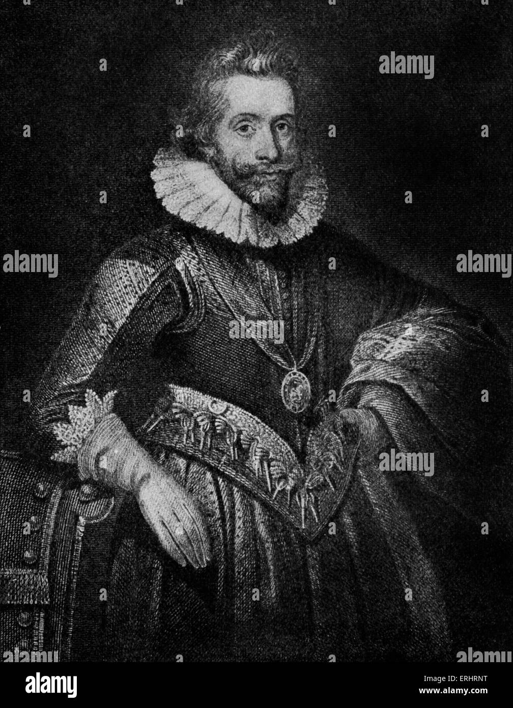 Henry Wriothesley - Third earl of Southampton and William Shakespeare's patron. HW: 1573-1624. WS: English poet - Stock Image