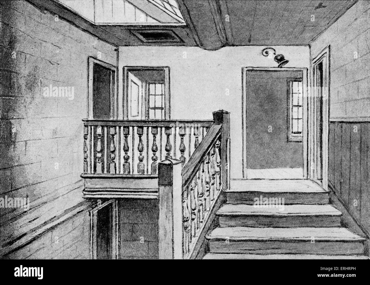 Samuel Johnson's house - the stairway in Gough Square.  SJ: English essayist, biographer, lexicographer and - Stock Image