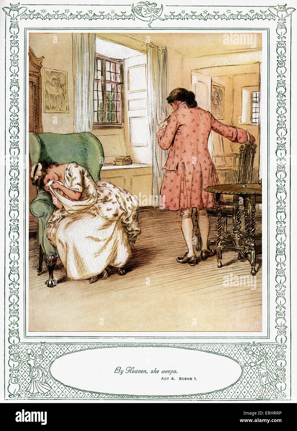 Oliver Goldsmith 's play - 'She Stoops to Conquer or The Mistakes of a Night'. Act 4, Scene 1 - 'By - Stock Image