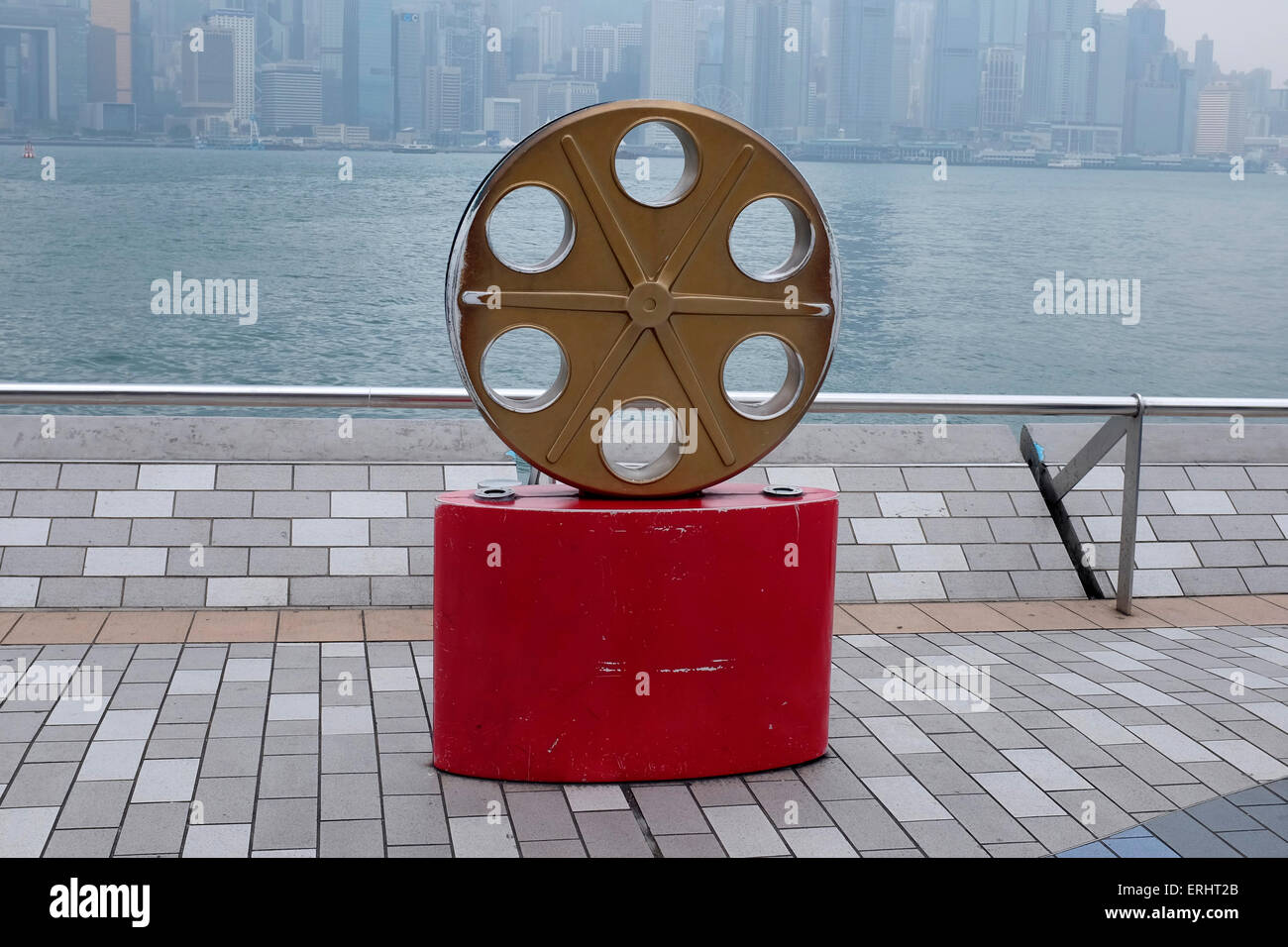Roll of Movie Film statue on the Avenue of Stars, Hong Kong SAR, China - Stock Image