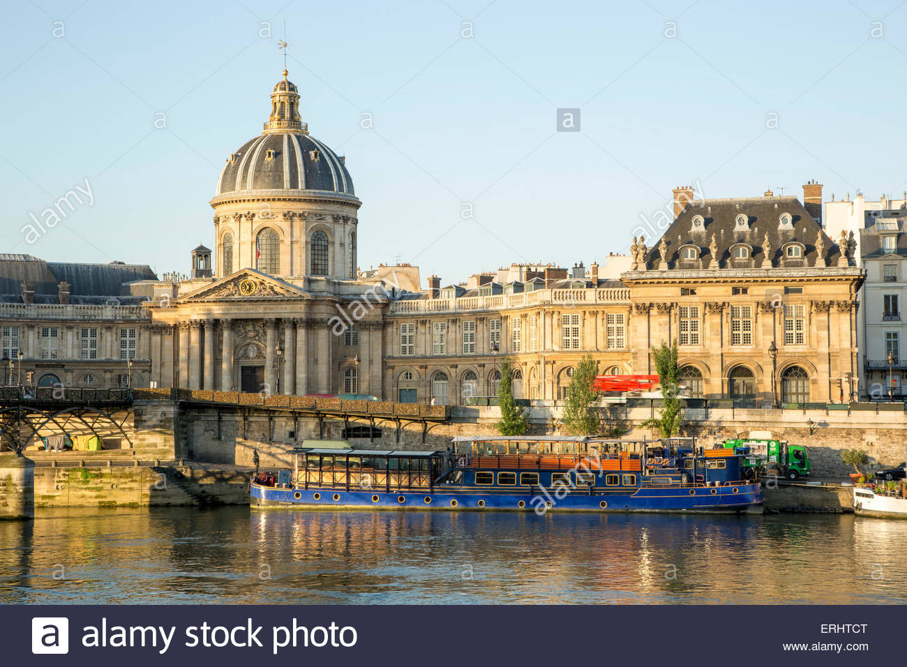 Institut de France , View from Pont des Artes Bridge, Paris, France - Stock Image