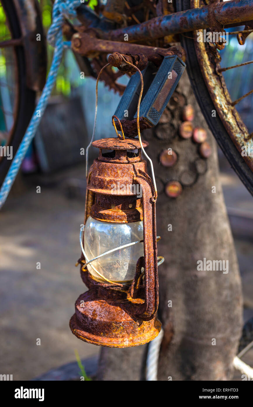 Vintage Old Kerosene Lamp outdoors - Stock Image