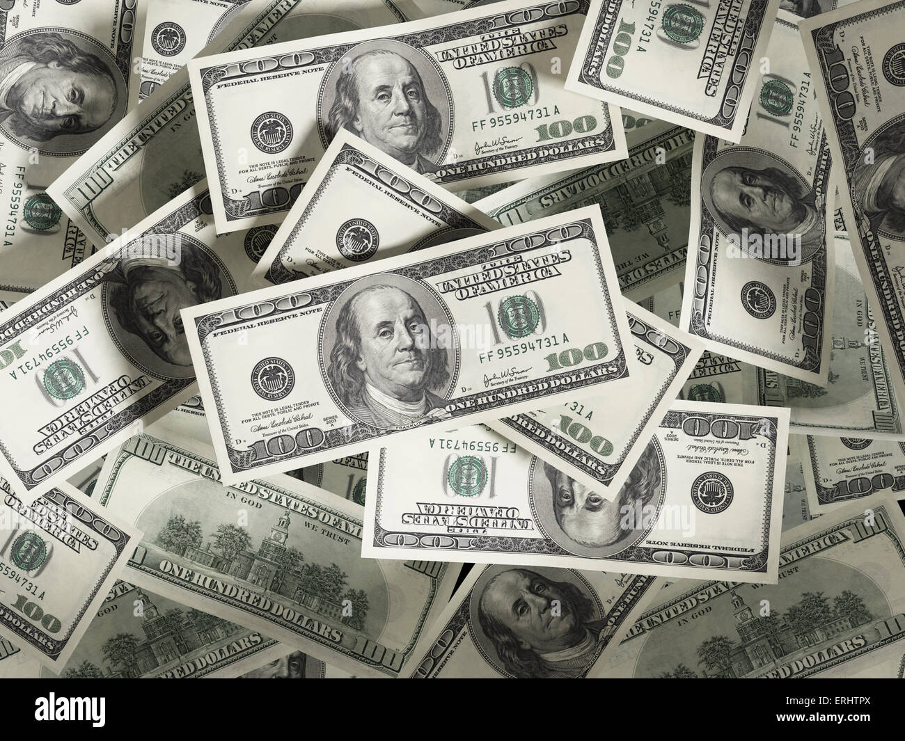 100 Dollar money stack. Spotlit - Stock Image