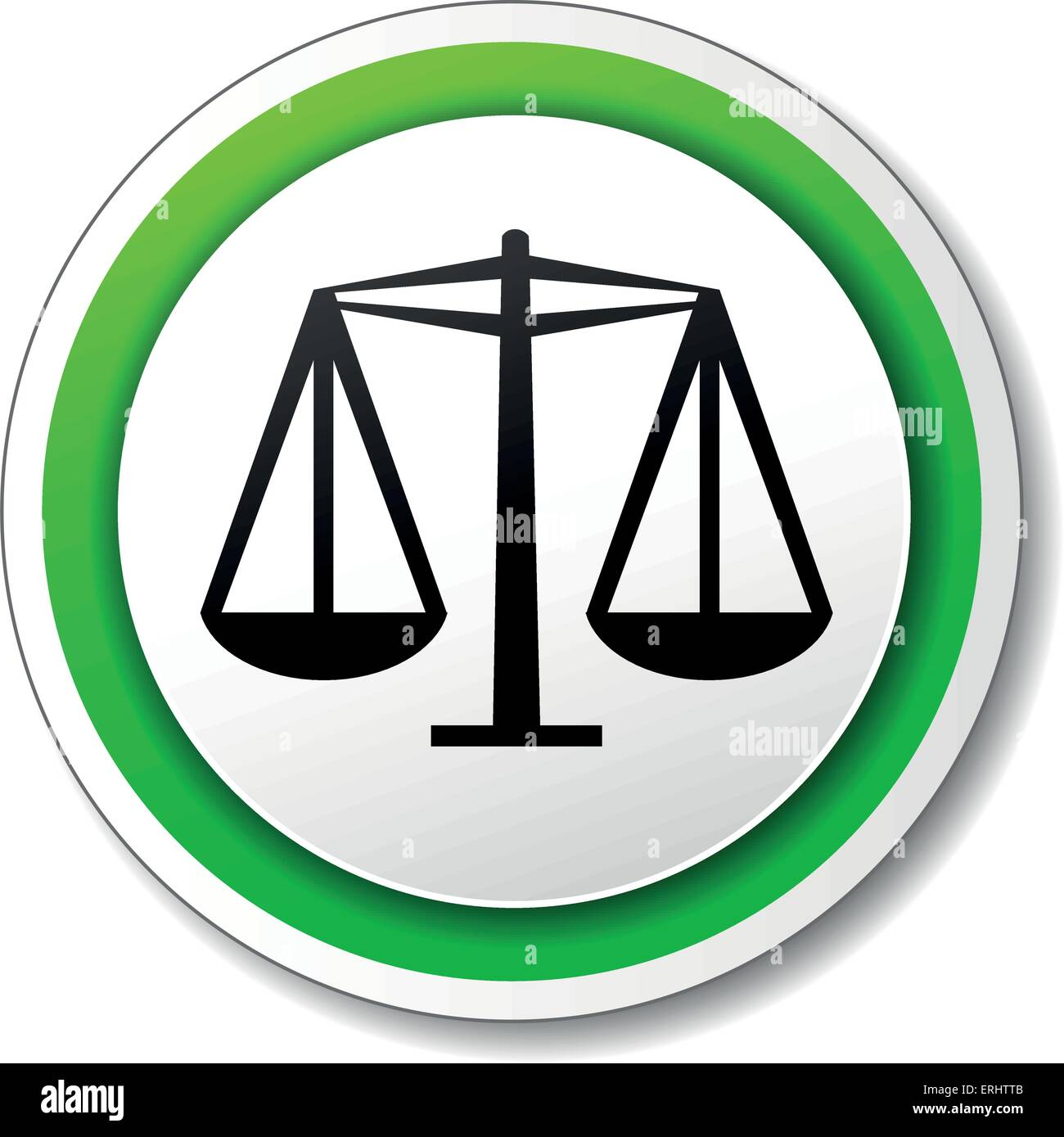 Vector illustration of justice round icon on white background - Stock Image