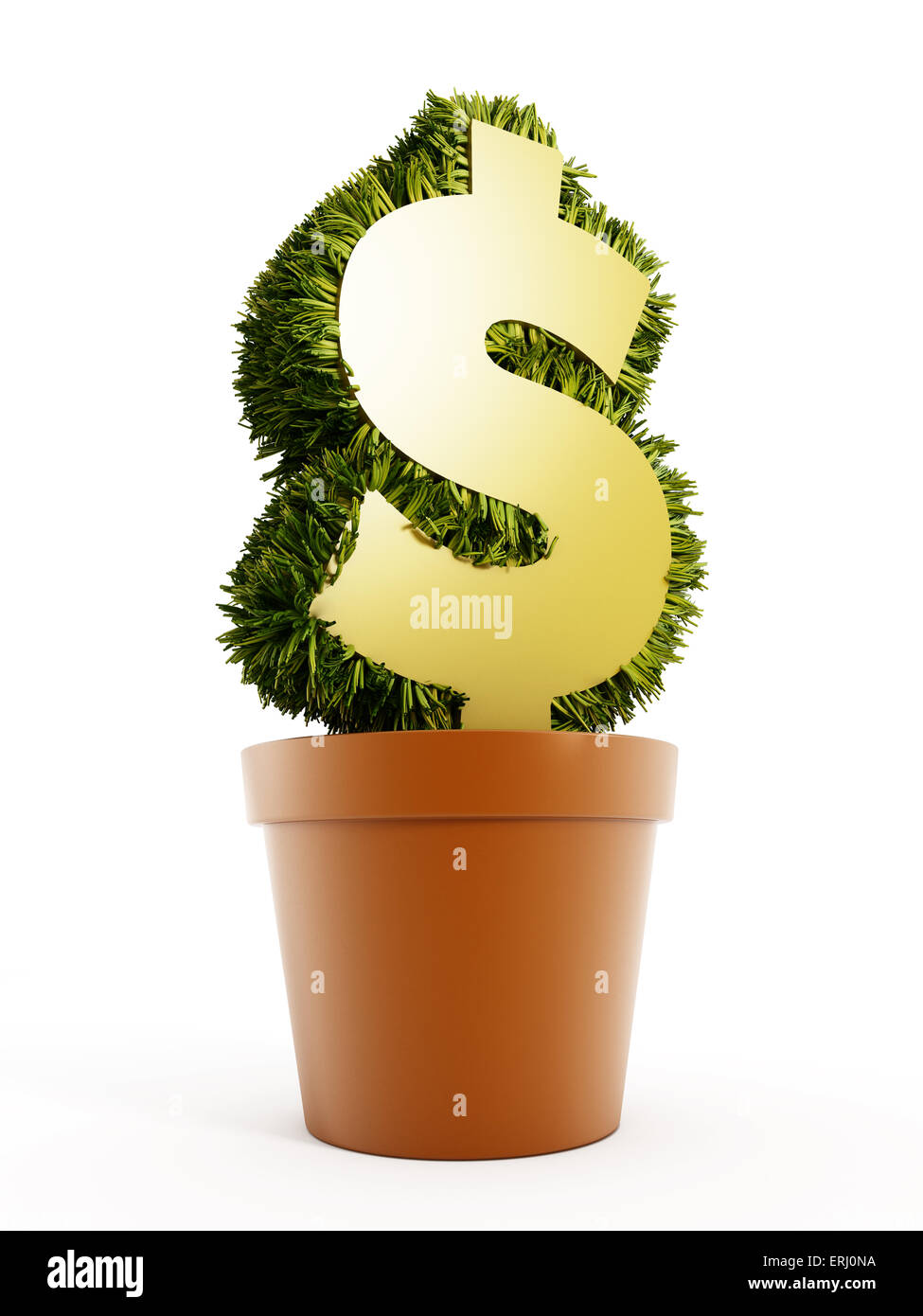Money Plant Concept With Dollar Shape In The Pot Stock Photo