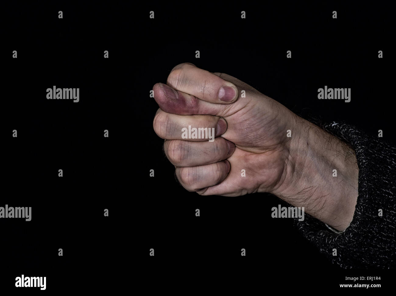 Dulya with dirty hand - rude gesture used in Turkish, Slavic and some other cultures. - Stock Image