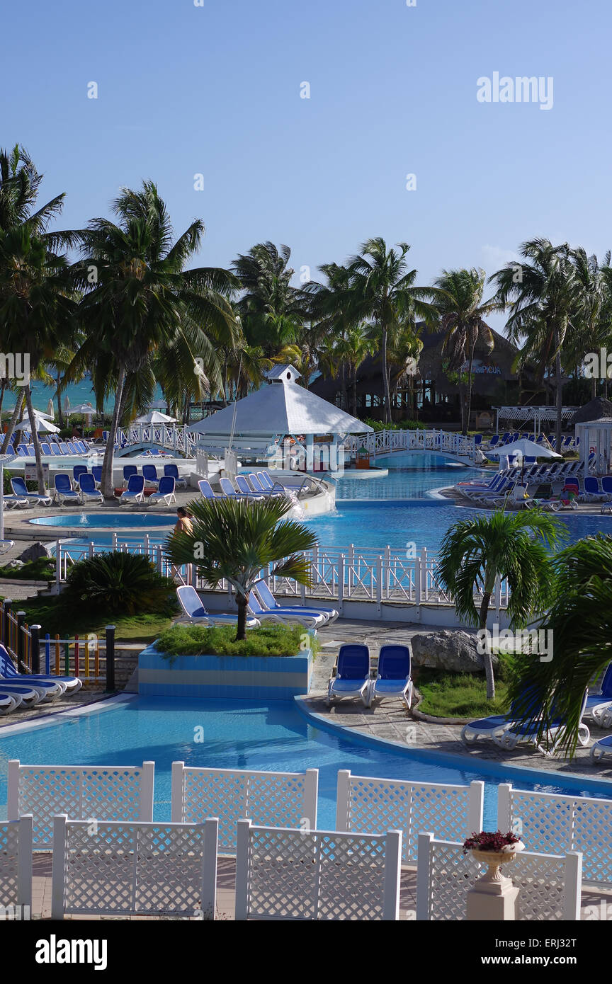 Swimming pools and recreational area - Hotel Tryp, Cayo Coco, Cuba - Stock Image
