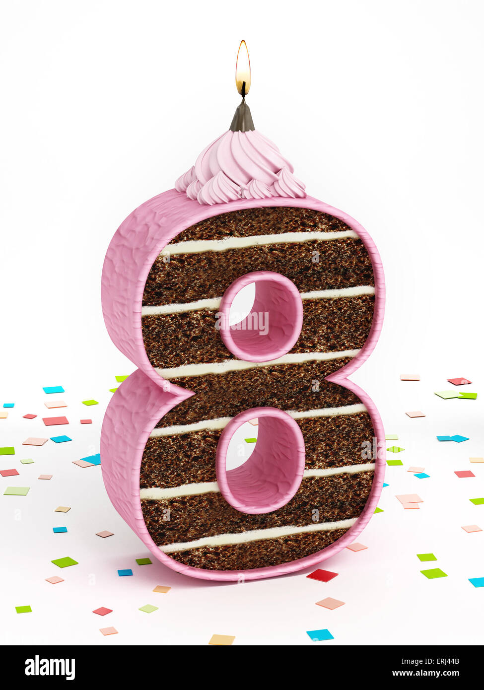 Number 8 Shaped Chocolate Birthday Cake With Lit Candle