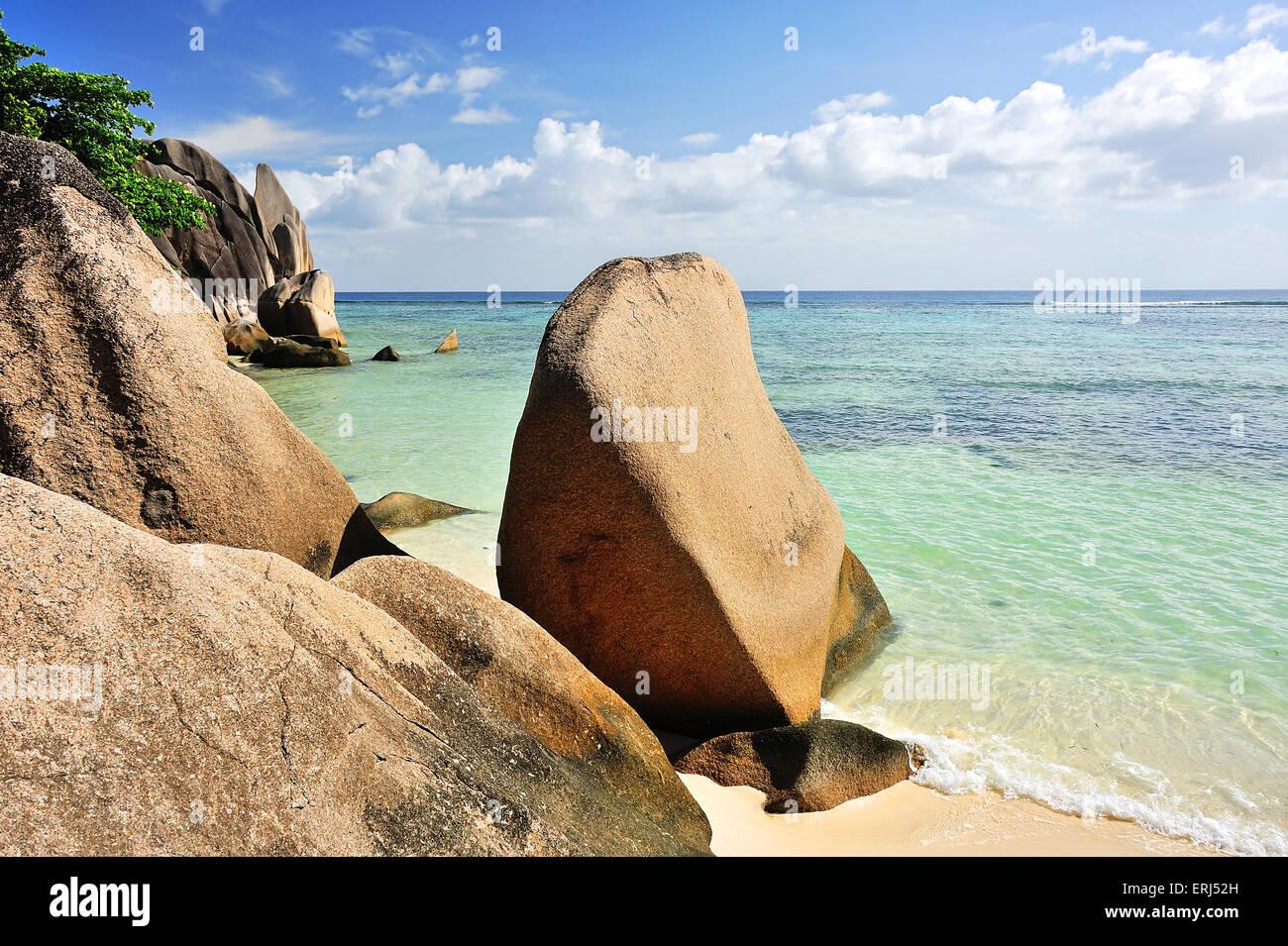 Sea View Source d' Argent,  Beach on Island La Digue, Seychelles - Stock Image