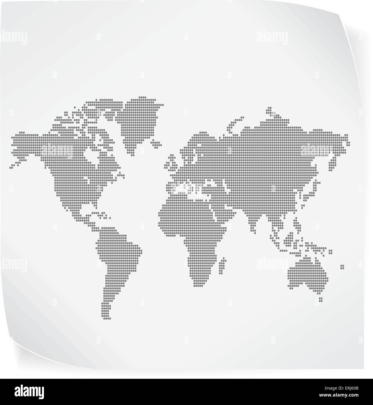 World map over white paper sticker isolated on white. Vector EPS10. - Stock Image