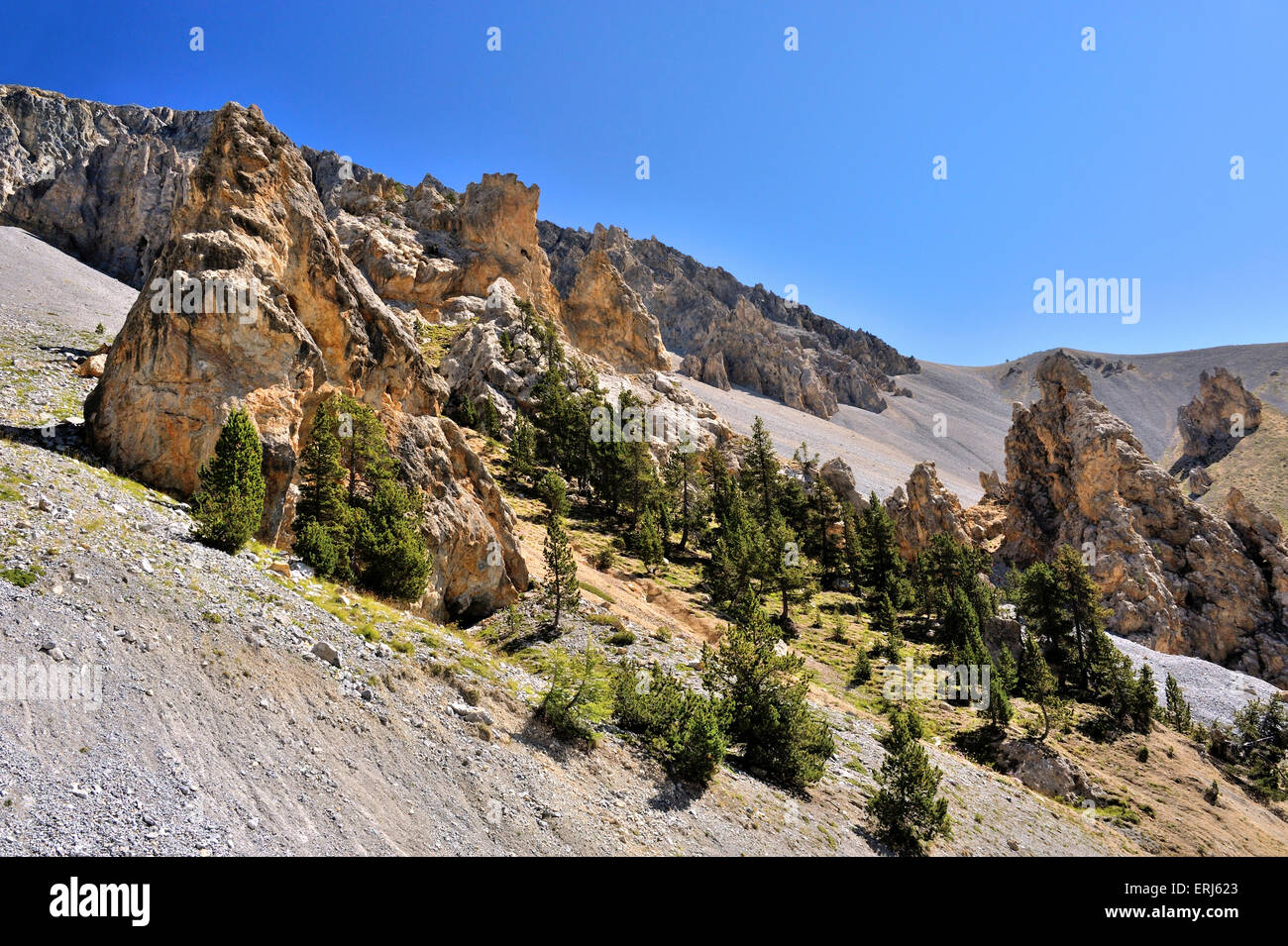 Casse Déserte, desert of stones in the French Alps, Col d'Izoard, French Alps, France - Stock Image