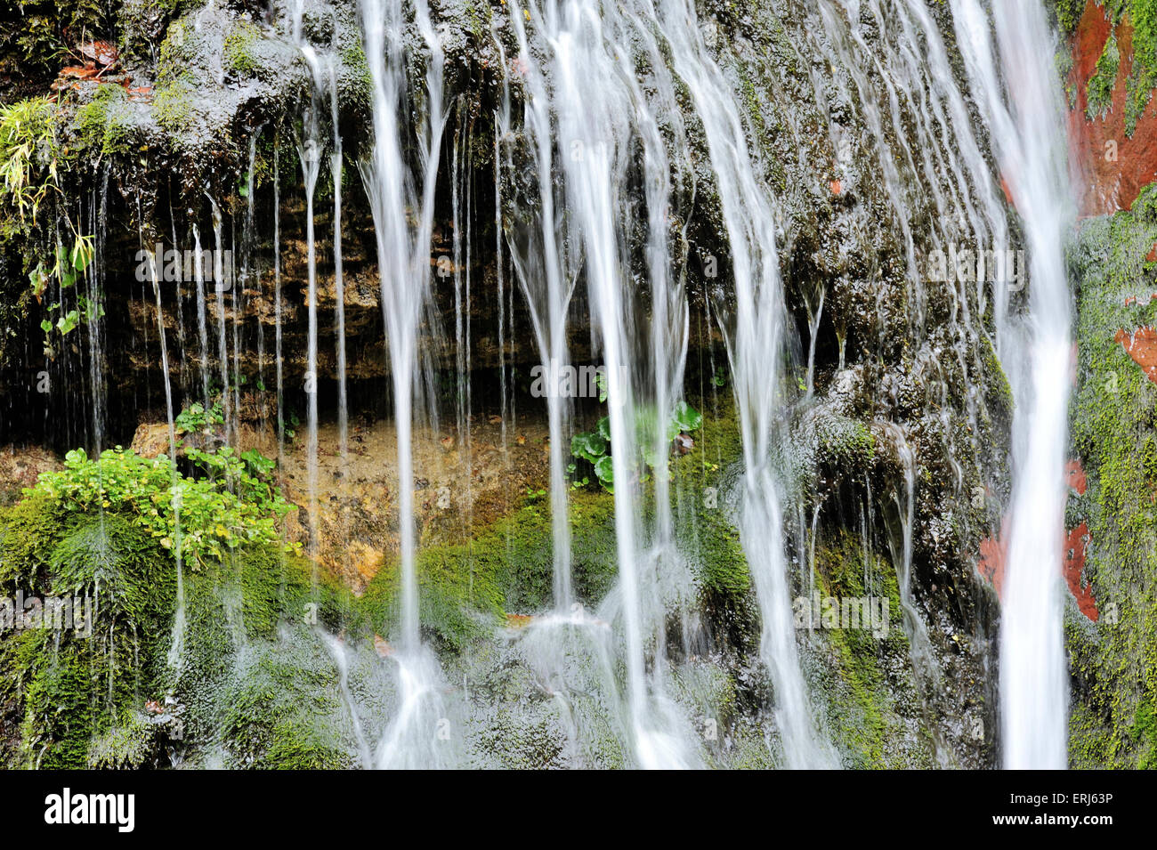 Time exposure of small waterfall in the Gorges du Cians, French Alps, France - Stock Image